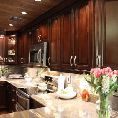 Mocha cabinets