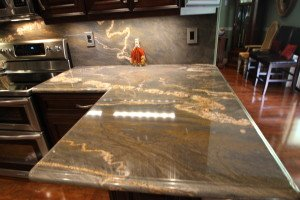 Mocha cabinets , Granite Counters Near Miami