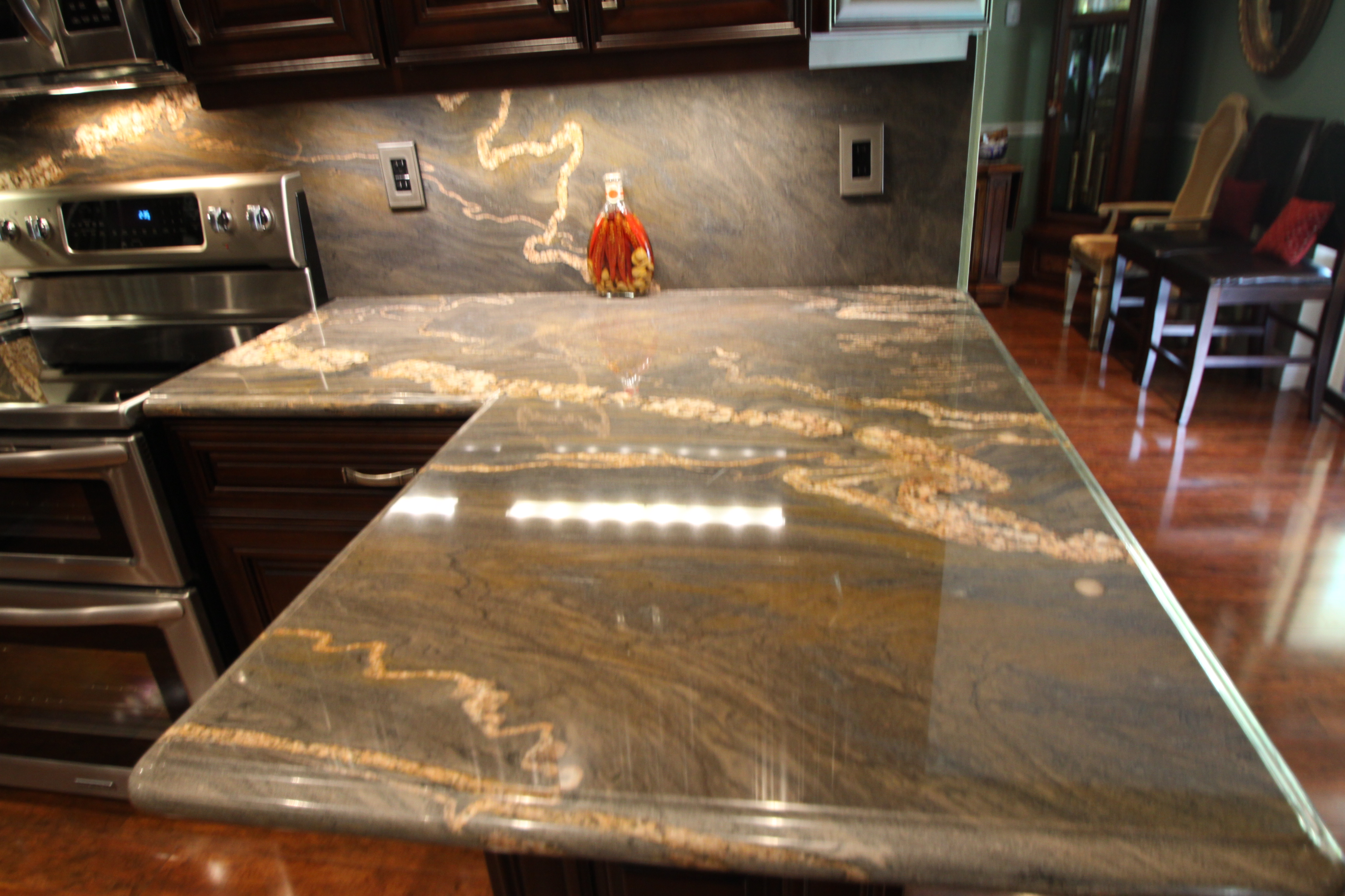 Mocha Cabinets Quartz Countertops Near Miami