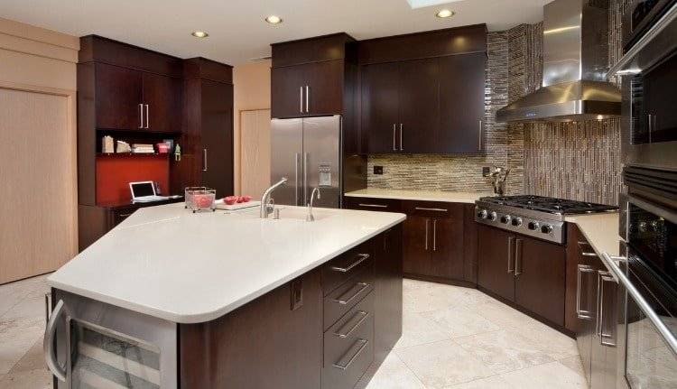 Mocha Kitchen Cabinets in Coral Gables